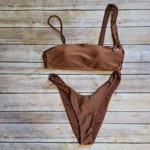 Metallic Bandeau/Brazillian Bikini